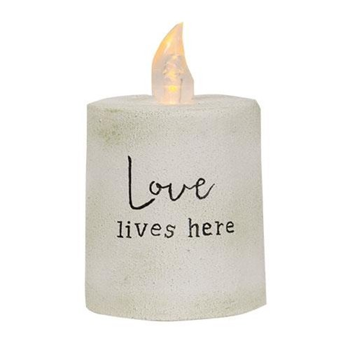Love Lives Here White Cement Timer Pillar