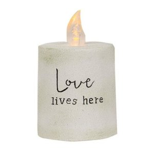 Love Lives Here White Cement Timer Pillar