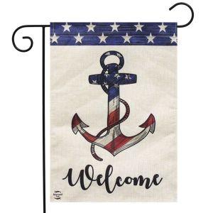 American Anchor Burlap Garden Flag