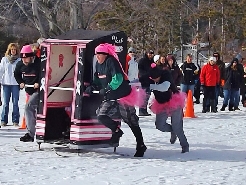 outhouse races lake george winter carnival