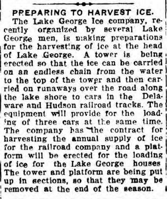 Lake george Ice Co news item 1919