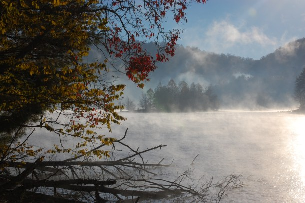 Fall view of Lake Glenville with rising mist