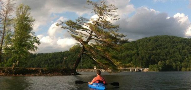 Kayaking to Little Island on Lake Glenville
