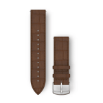 Dark Brown Embossed Italian Leather with Silver Hardware