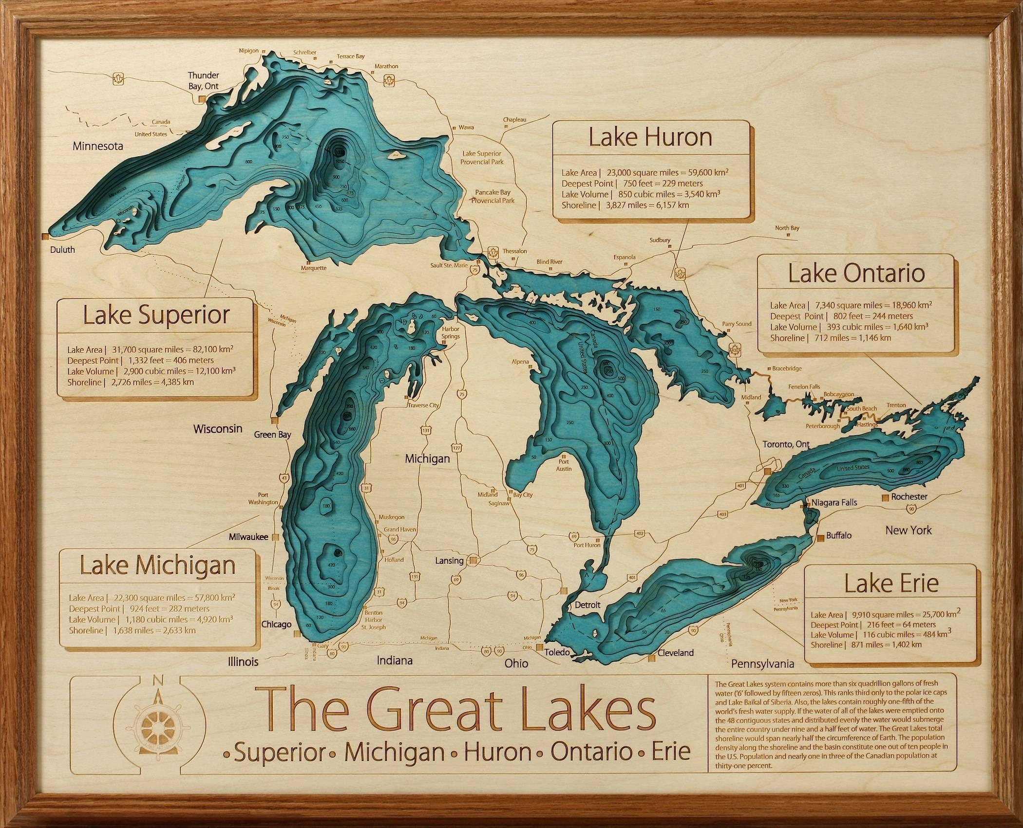 3d Laser Carved Wood Lake Maps