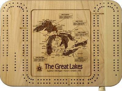 Laser Carved Lake Map Cribbage Board  Lakehouse Lifestyle