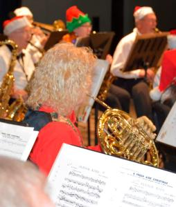 French horn player at Lakeland Concert Band Christmas concert