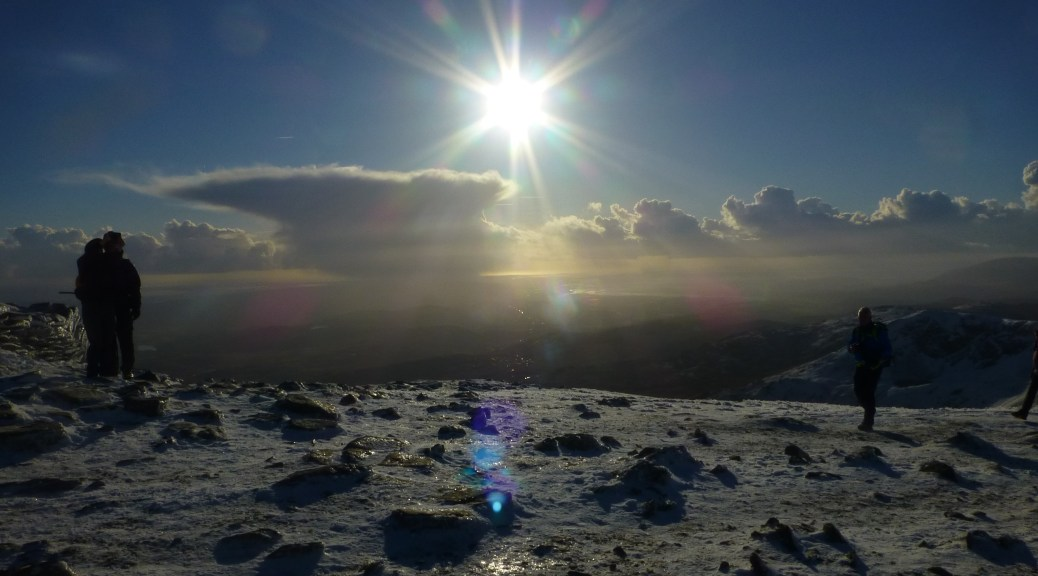 Old Man Summit in snow and sun