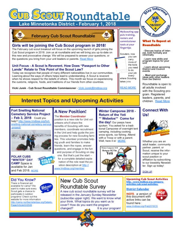 Cub Scout Newsletter Names