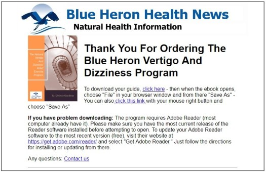 Vertigo and Dizziness Program Download Page