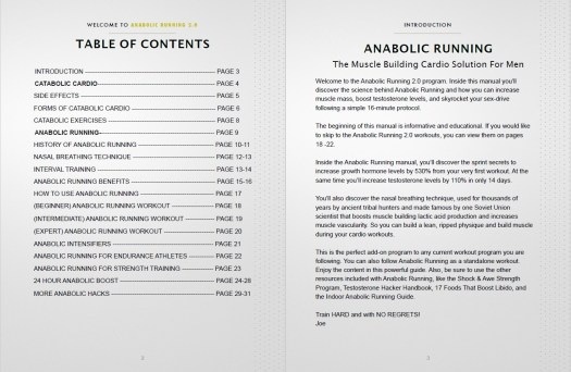 Anabolic Running Table of Contents
