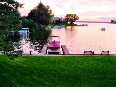 Shot of a pontoon on a Michigan lake