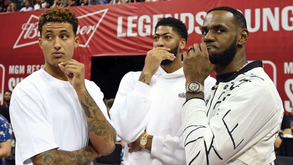 Kyle Kuzma, Anthony Davis and LeBron James at Thomas & Mack Center in Las Vegas
