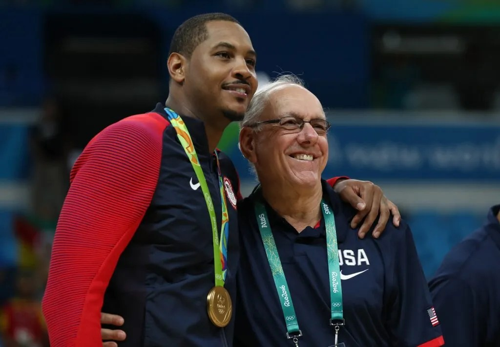 Carmelo Anthony and Jim Boeheim, Rio 2016 Olympic Games at Carioca Arena 1