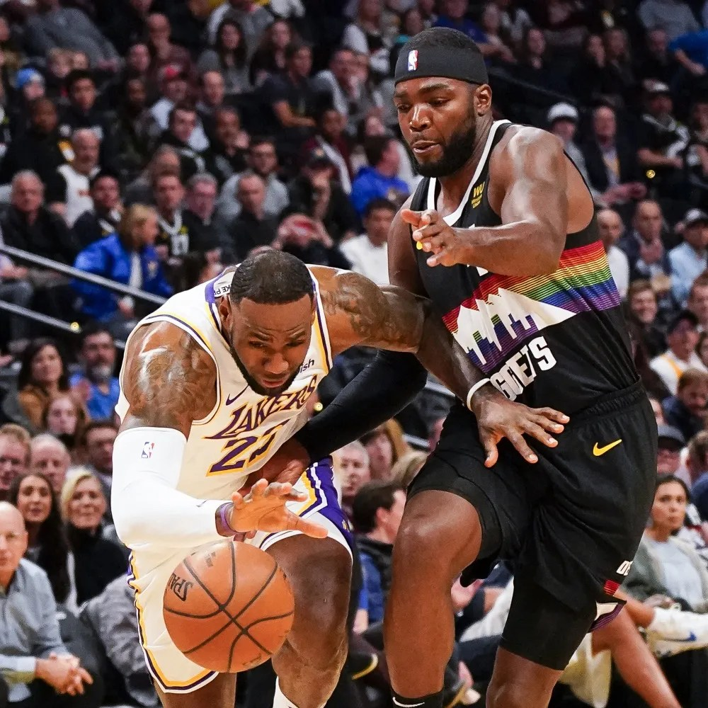 LeBron James and Paul Millsap, Los Angeles Lakers vs Denver Nuggets