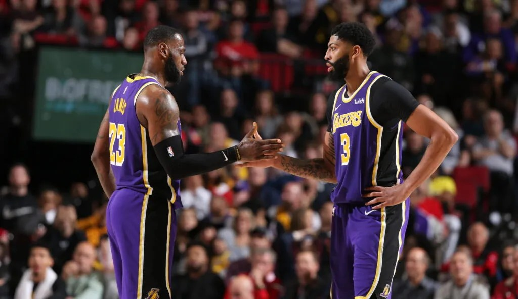 LeBron James and Anthony Davis, Los Angeles Lakers vs Portland Trail Blazers
