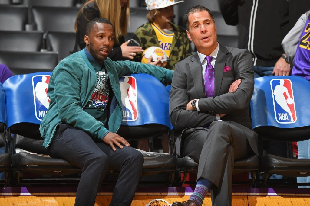 Rich Paul and Rob Pelinka, Los Angeles Lakers vs New Orleans Pelicans at Staples Center