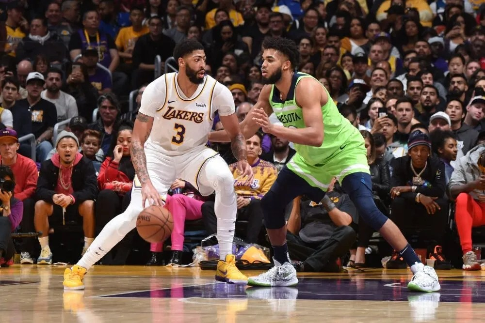 Anthony Davis and Karl-Anthony Towns, Los Angeles Lakers vs Minnesota Timberwolves