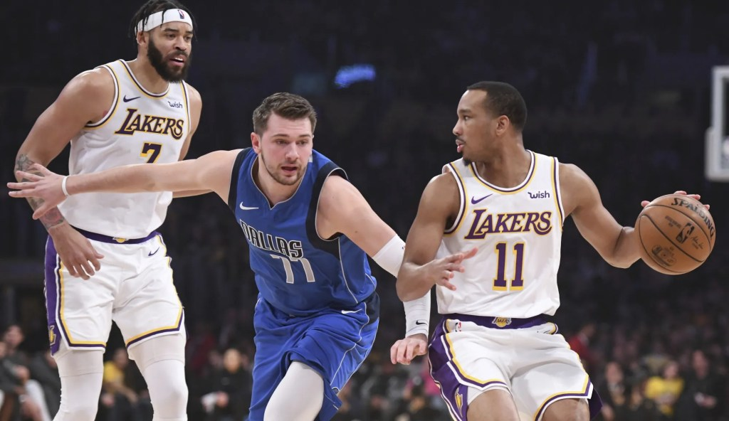 Luka Doncic and Avery Bradley, Los Angeles Lakers vs Dallas Mavericks at STAPLES Center