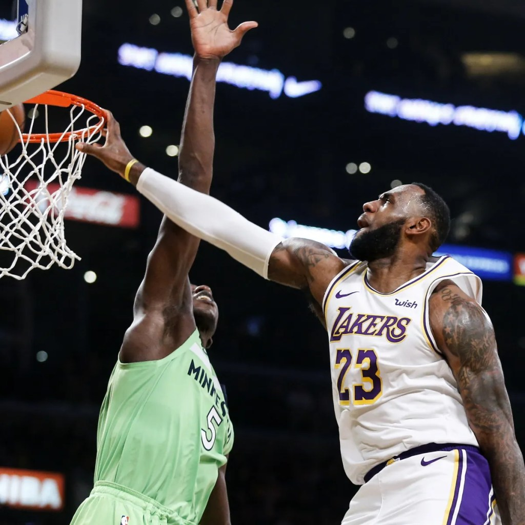 LeBron James and Gorgui Dieng, Los Angeles Lakers vs Minnesota Timberwolves