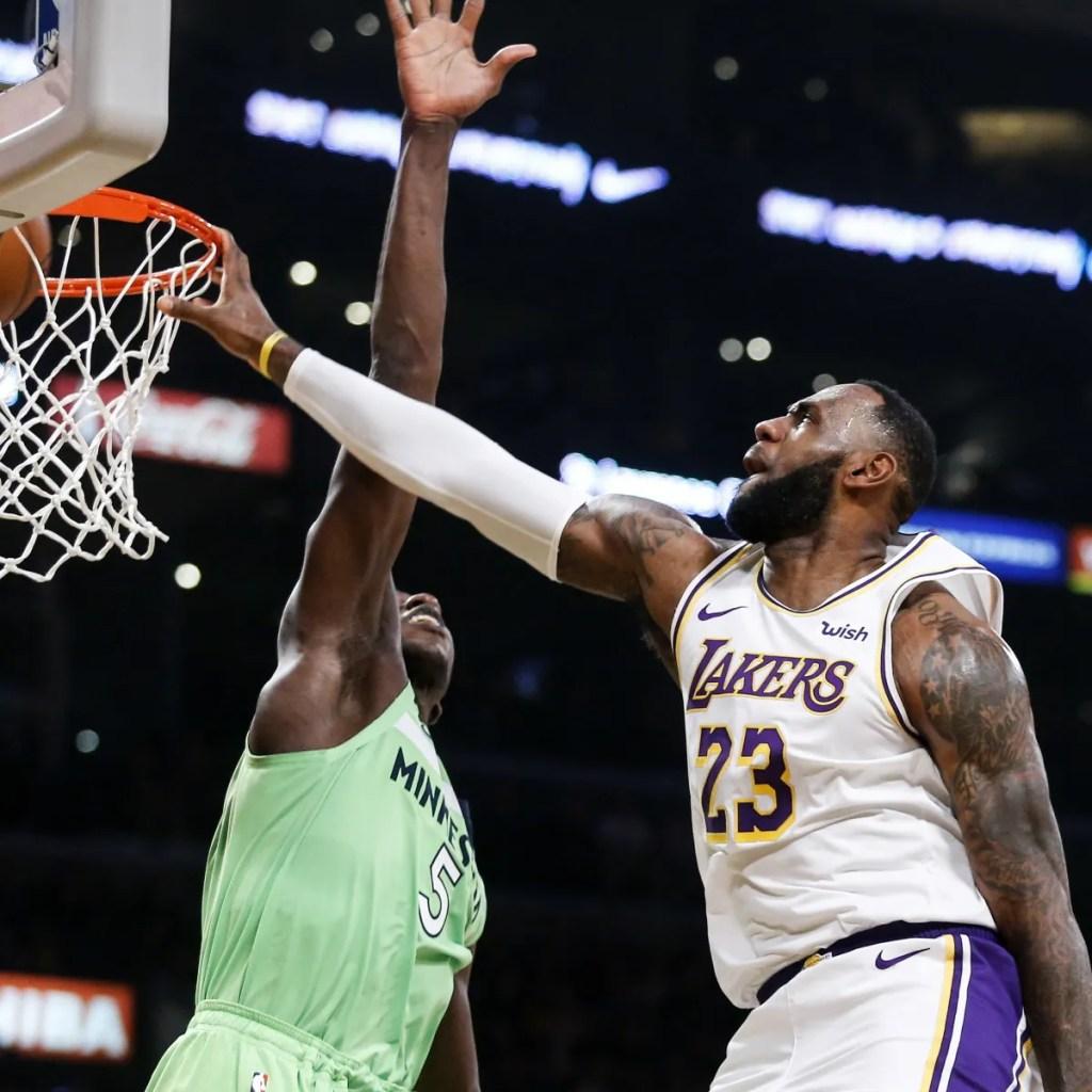 LeBron James and Gorgui Dieng, Los Angeles Lakers vs Minnesota Timberwolves