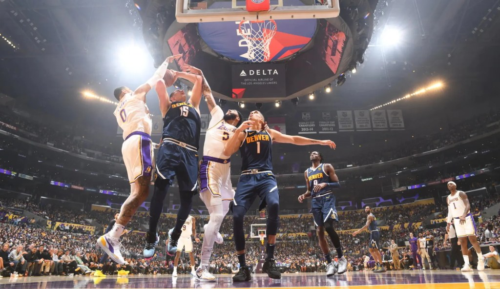 Kyle Kuzma, Nikola Jokic and Anthony Davis. Los Angeles Lakers vs Denver Nuggets