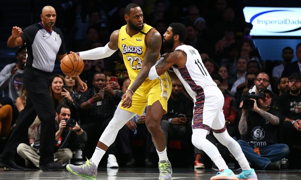 LeBron James and Kyrie Irving, Los Angeles Lakers vs Brooklyn Nets at Barclays Center
