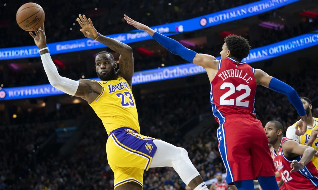 LeBron James and Matisse Thybulle, Los Angeles Lakers vs Philadelphia 76ers at Wells Fargo Center
