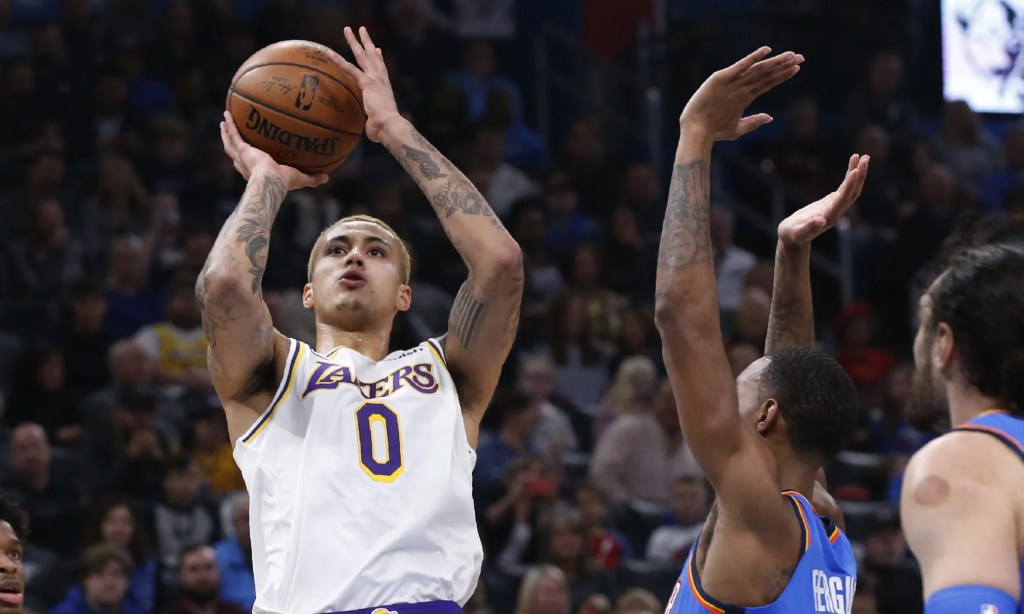Kyle Kuzma, Los Angeles Lakers vs Oklahoma City Thunder at Chesapeake Energy Arena