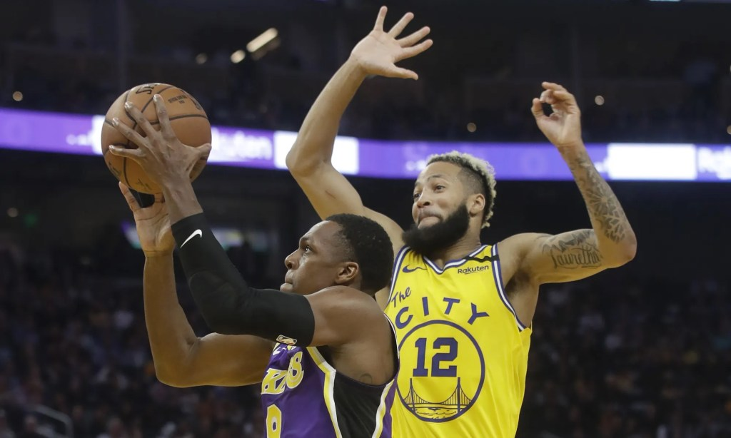 Rajon Rondo and Ky Bowman, Los Angeles Lakers vs Golden State Warriors at Chase Center