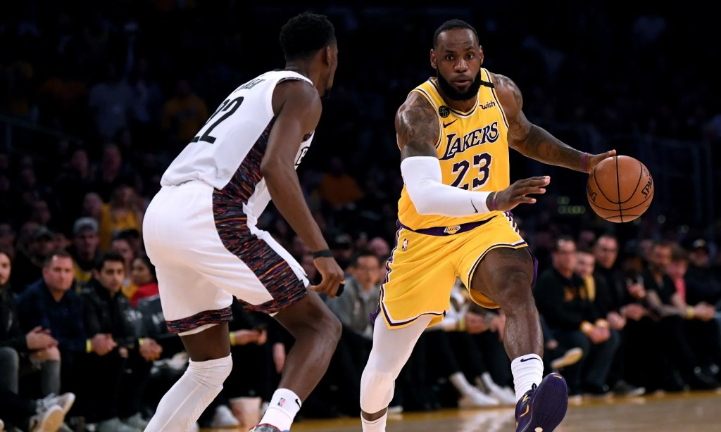 Caris LeVert and LeBron James, Los Angeles Lakers vs Brooklyn Nets at STAPLES Center