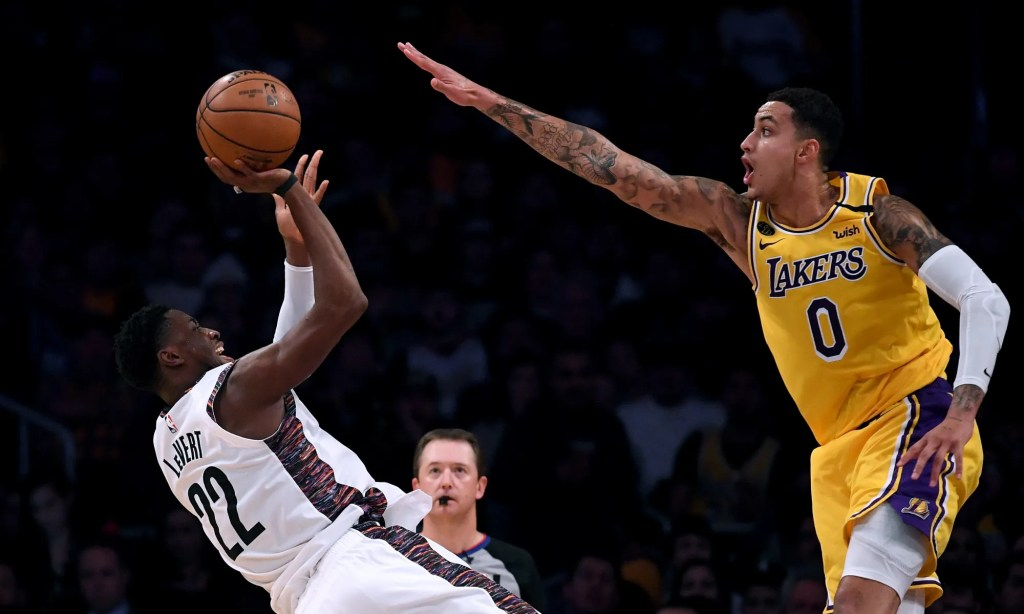 Caris LeVert and Kyle Kuzma, Los Angeles Lakers vs Brooklyn Nets at STAPLES Center