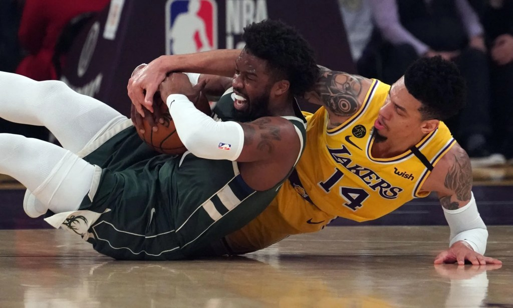Danny Green and Wesley Matthews, Los Angeles Lakers vs Milwaukee Bucks at STAPLES Center