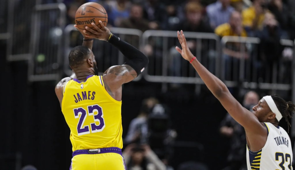 LeBron James and Myles Turner, Los Angeles Lakers vs Indiana Pacers