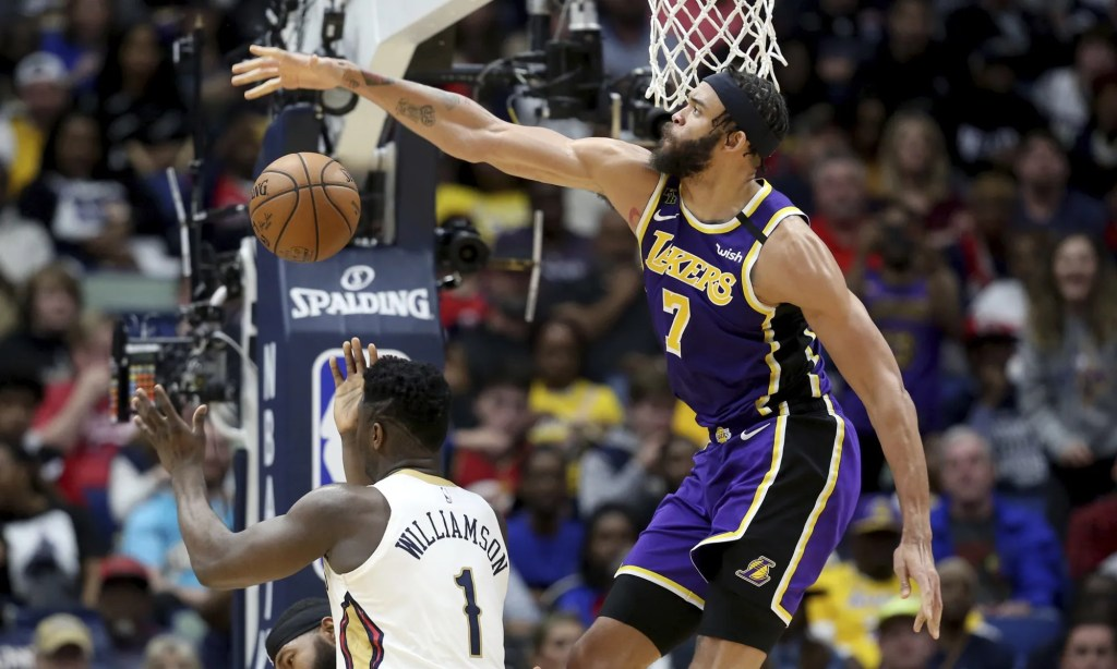 JaVale McGee and Zion Williamson, Los Angeles Lakers vs New Orleans Pelicans at Smoothie King Center