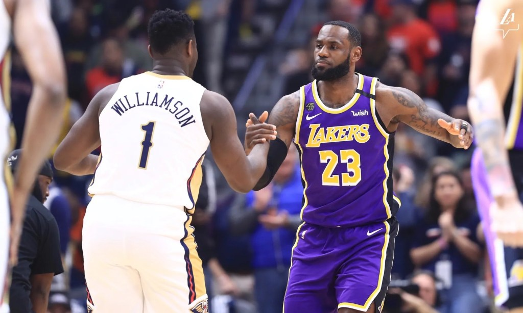 LeBron James and Zion Williamson, Los Angeles Lakers vs New Orleans Pelicans at Smoothie King Center