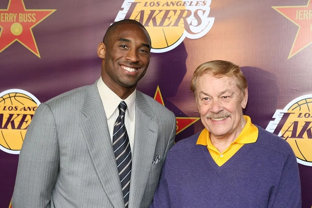 Los Angeles Lakers star Kobe Braynt and Lakers owner Dr. Jerry Buss. Los Angeles Lakers owner Dr. Jerry Buss gets a star on the Hollywood Walk of Fame. Hollywood and Highland, Hollywood, CA.