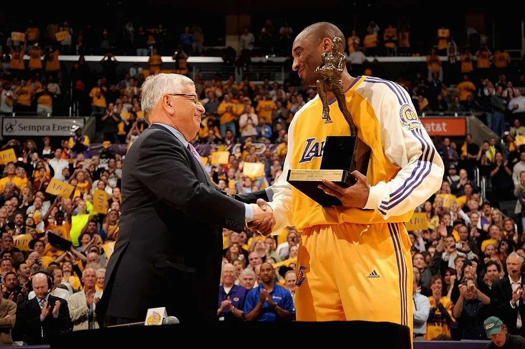 NBA Commissioner David Stern presents the MVP Trophy to Kobe Bryant #24 of the Los Angeles Lakers before Game Two of the Western Conference Semifinals against the Utah Jazz during the 2008 NBA Playoffs on May 7, 2008 at Staples Center in Los Angeles, California. The Lakers won 120-110.
