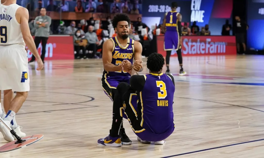 Quinn Cook #28 and Anthony Davis #3 of the Los Angeles Lakers during the game against the Indiana Pacers on August 8, 2020