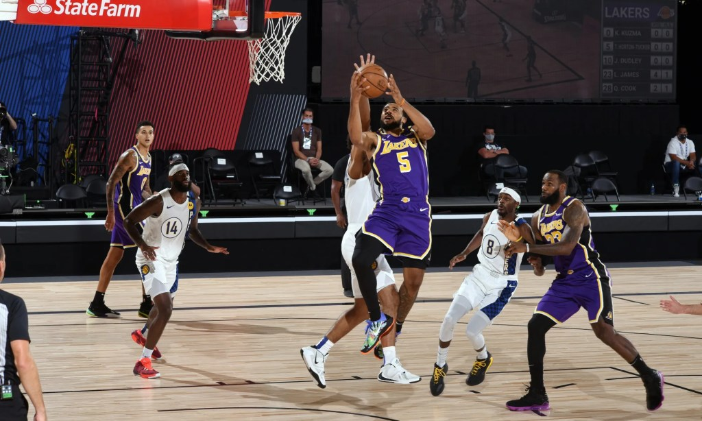 Talen Horton-Tucker #5 of the Los Angeles Lakers shoots the ball during the game against the Indiana Pacers on August 8, 2020