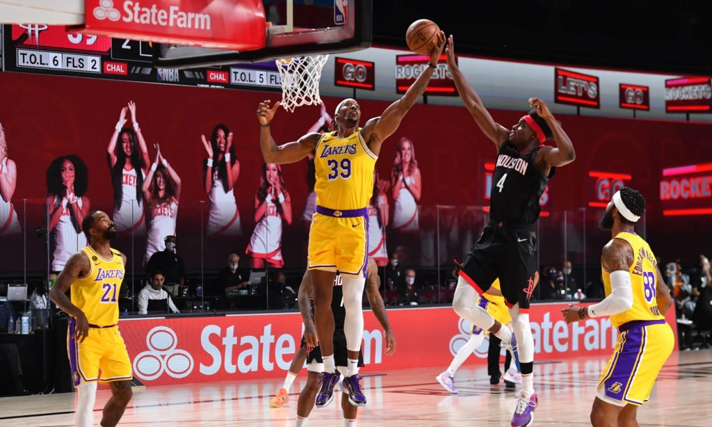 Dwight Howard #39 of the Los Angeles Lakers grabs the rebound against the Houston Rockets on August 6, 2020