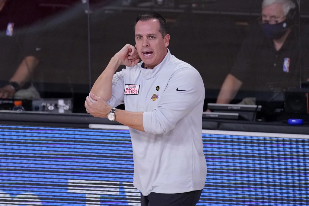 Los Angeles Lakers head coach Frank Vogel gestures as he watches play against the Denver Nuggets during the second half of Game 3 of the NBA basketball Western Conference final Tuesday, Sept. 22, 2020, in Lake Buena Vista, Fla.