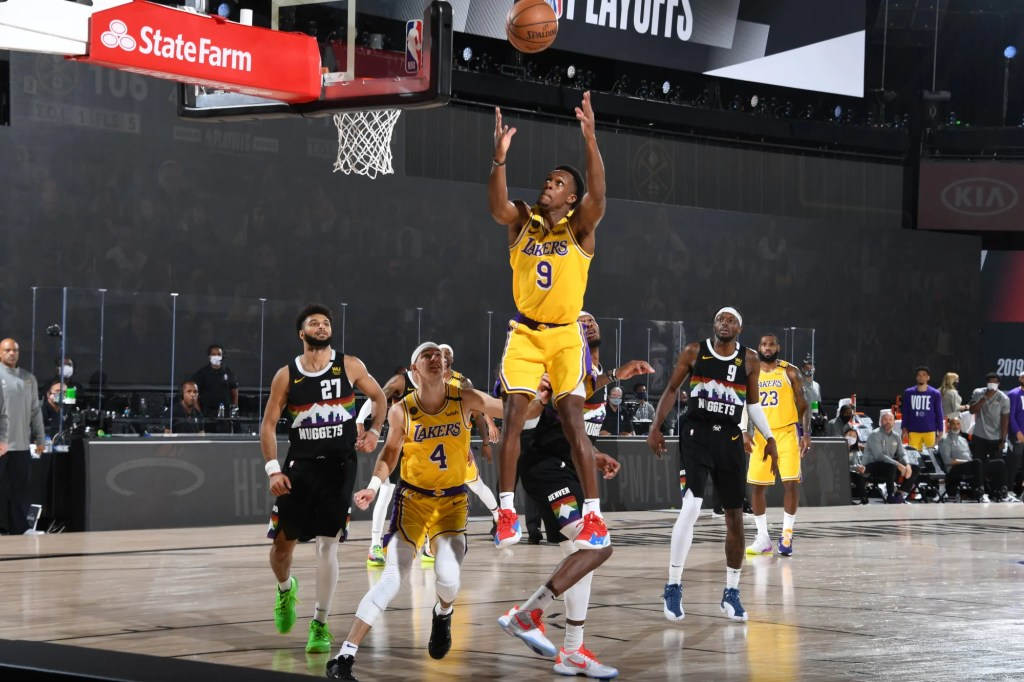 Rajon Rondo #9 of the Los Angeles Lakers grabs the rebound against the Denver Nuggets during Game Four of the Western Conference Finals on September 24, 2020