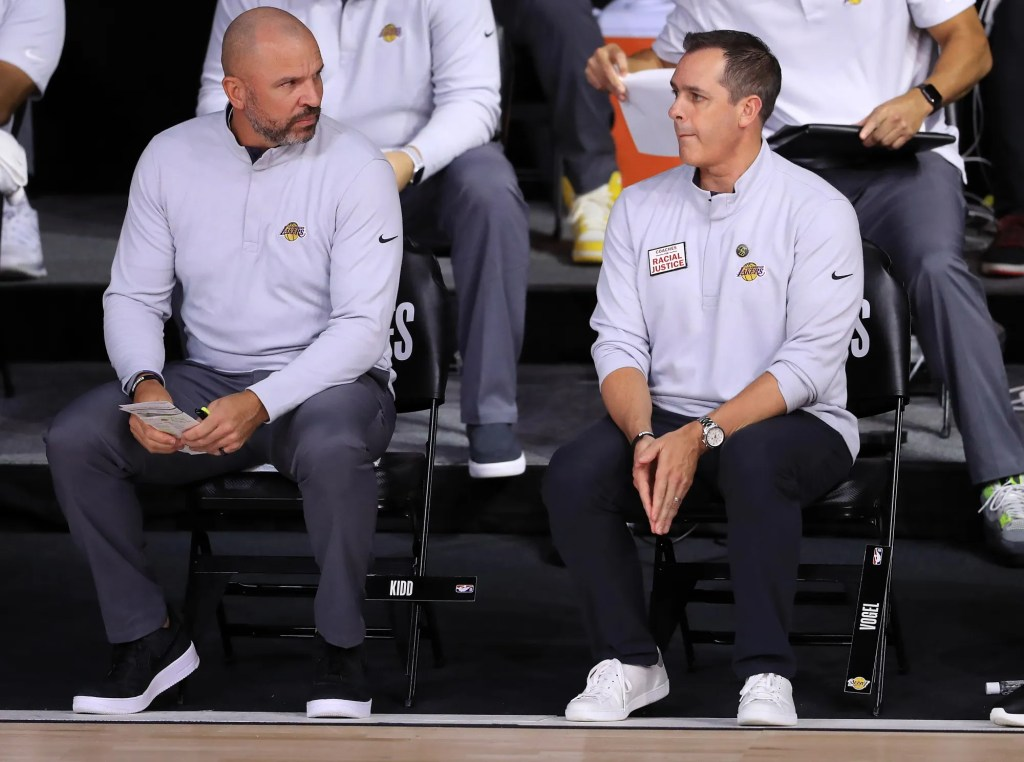 Frank Vogel of the Los Angeles Lakers and Assistant coach Jason Kidd during the first quarter against the Houston Rockets in Game Three of the Western Conference Second Round during the 2020 NBA Playoffs at AdventHealth Arena at the ESPN Wide World Of Sports Complex on September 08, 2020 in Lake Buena Vista, Florida. NOTE TO USER: User expressly acknowledges and agrees that, by downloading and or using this photograph, User is consenting to the terms and conditions of the Getty Images License Agreement.