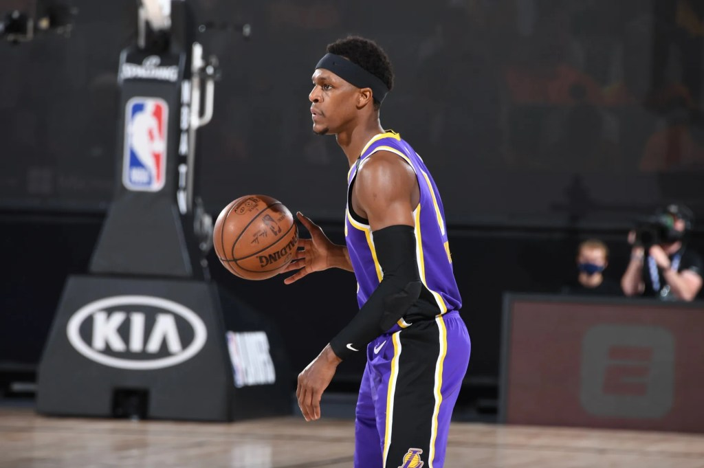 Rajon Rondo, Los Angeles Lakers vs Houston Rockets during Game One of the Western Conference Semifinals of the NBA Playoffs on September 4, 2020