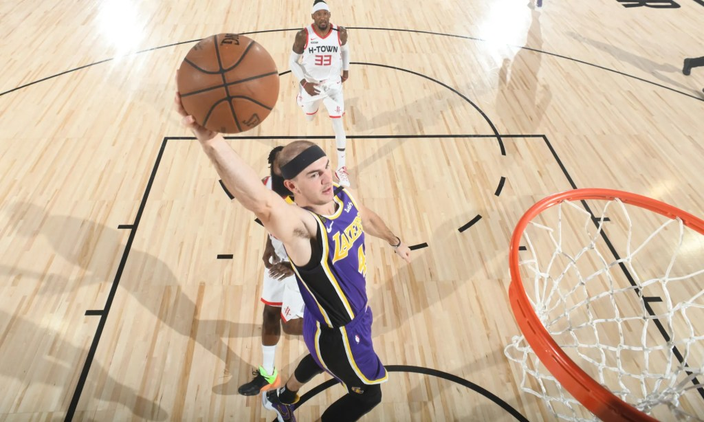 Alex Caruso, Los Angeles Lakers vs Houston Rockets during Game One of the Western Conference Semifinals of the NBA Playoffs on September 4, 2020