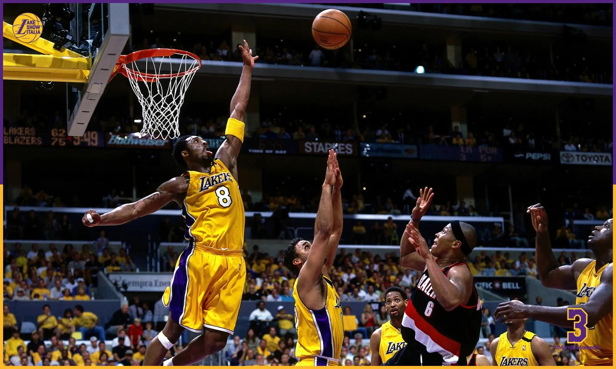 Kobe Bryant and Bonzi Wells, Los Angeles Lakers vs Portland Trail Blazers