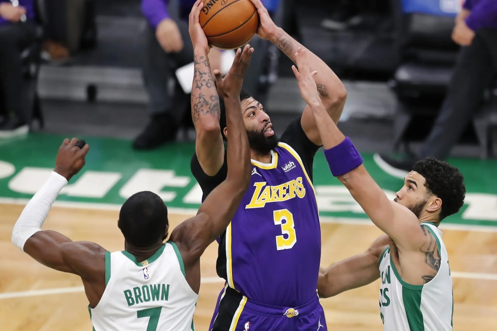 Anthony Davis, Jaylen Brown and Jayson Tatum, Los Angeles Lakers vs Boston Celtics