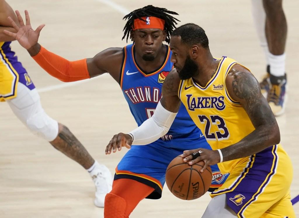 LeBron James and Luguentz Dort, Los Angeles Lakers vs Oklahoma City Thunder