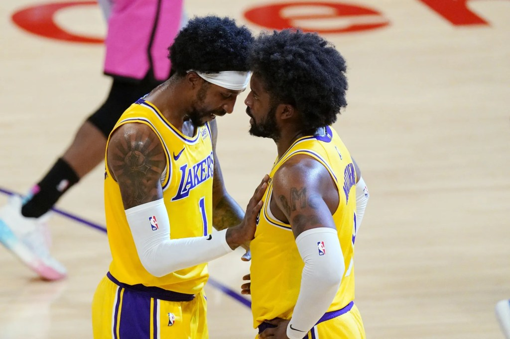 Kentavious Caldwell-Pope and Wesley Matthews, Los Angeles Lakers vs Miami Heat